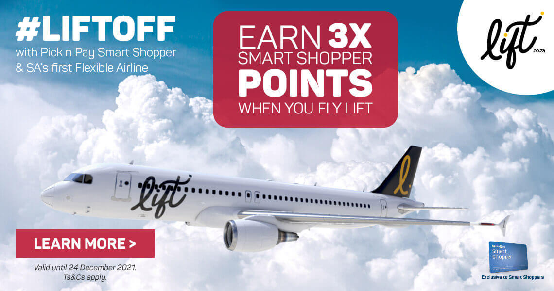 Earn 3x smart shopper points when you fly Lift