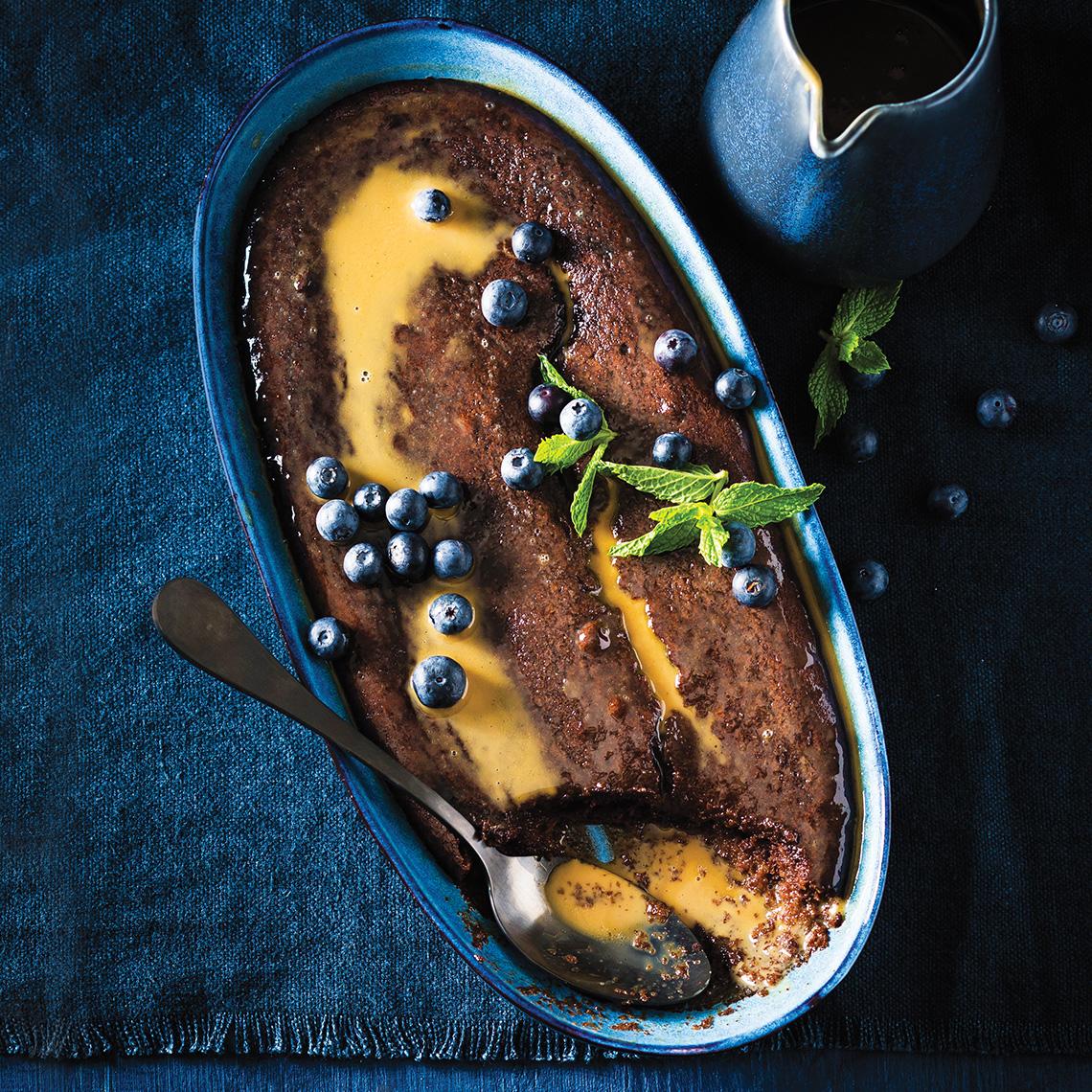 Chocolate and caramel malva pudding