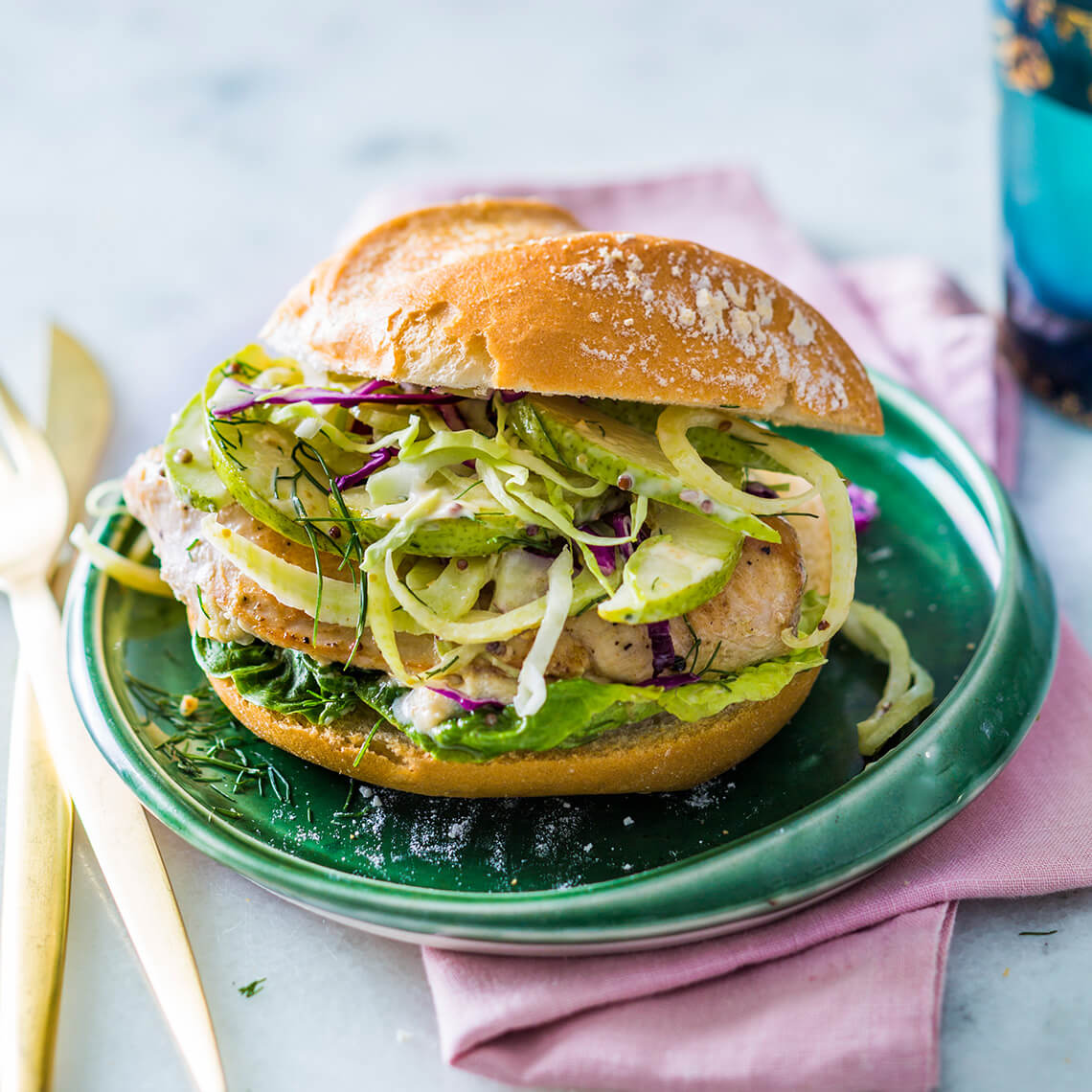 Stuffed chicken burgers with pear slaw