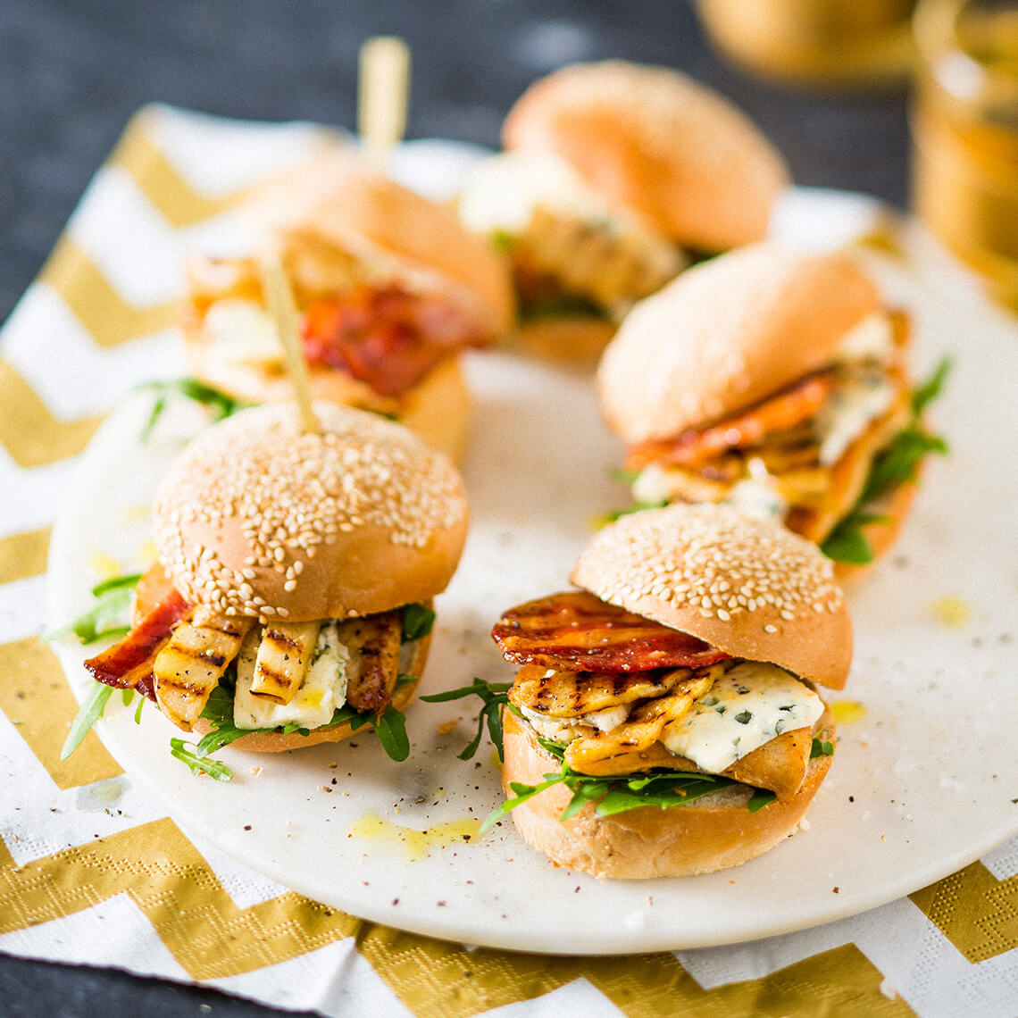 Grilled pear, blue cheese and bacon sliders