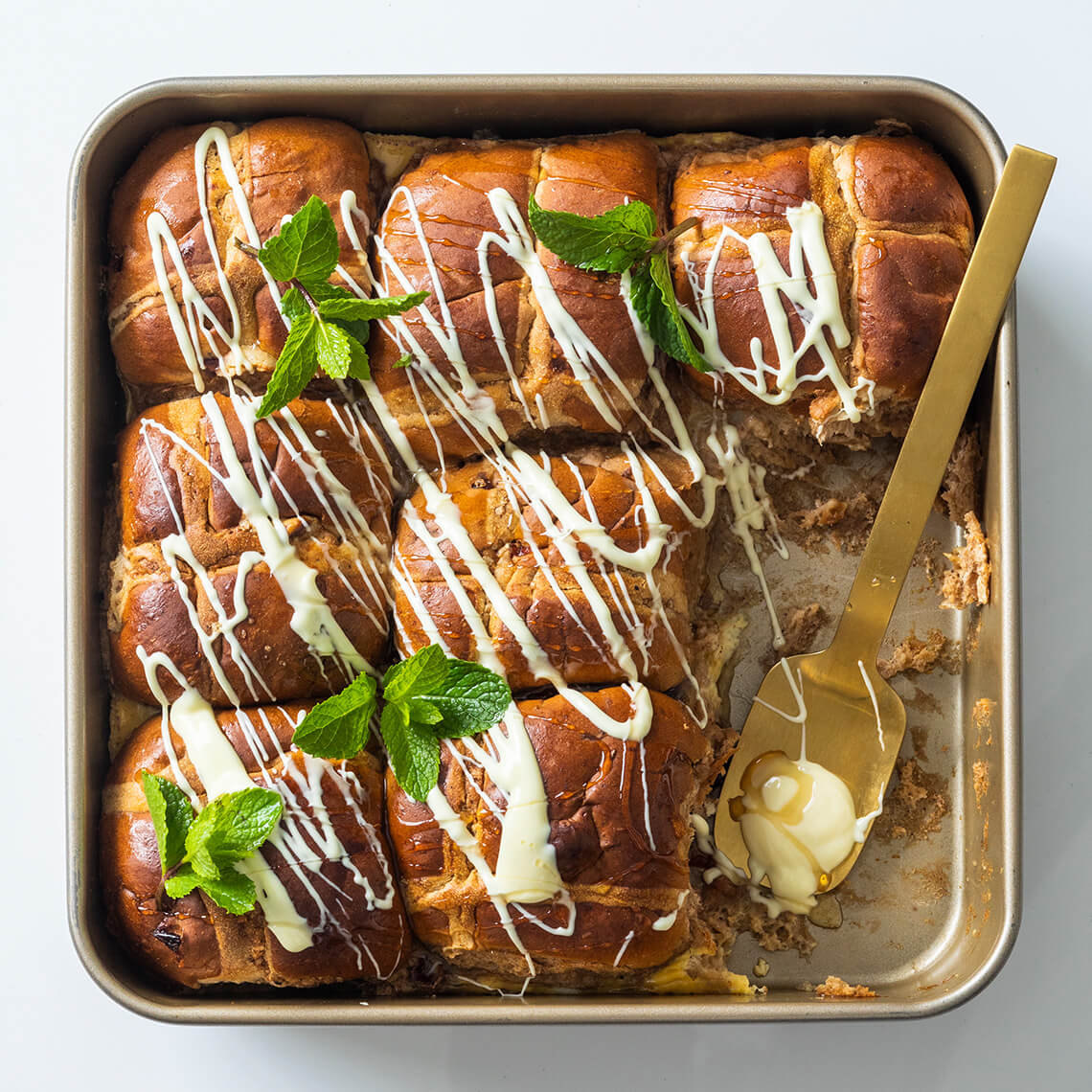 Hot cross bun bread-and-butter pudding