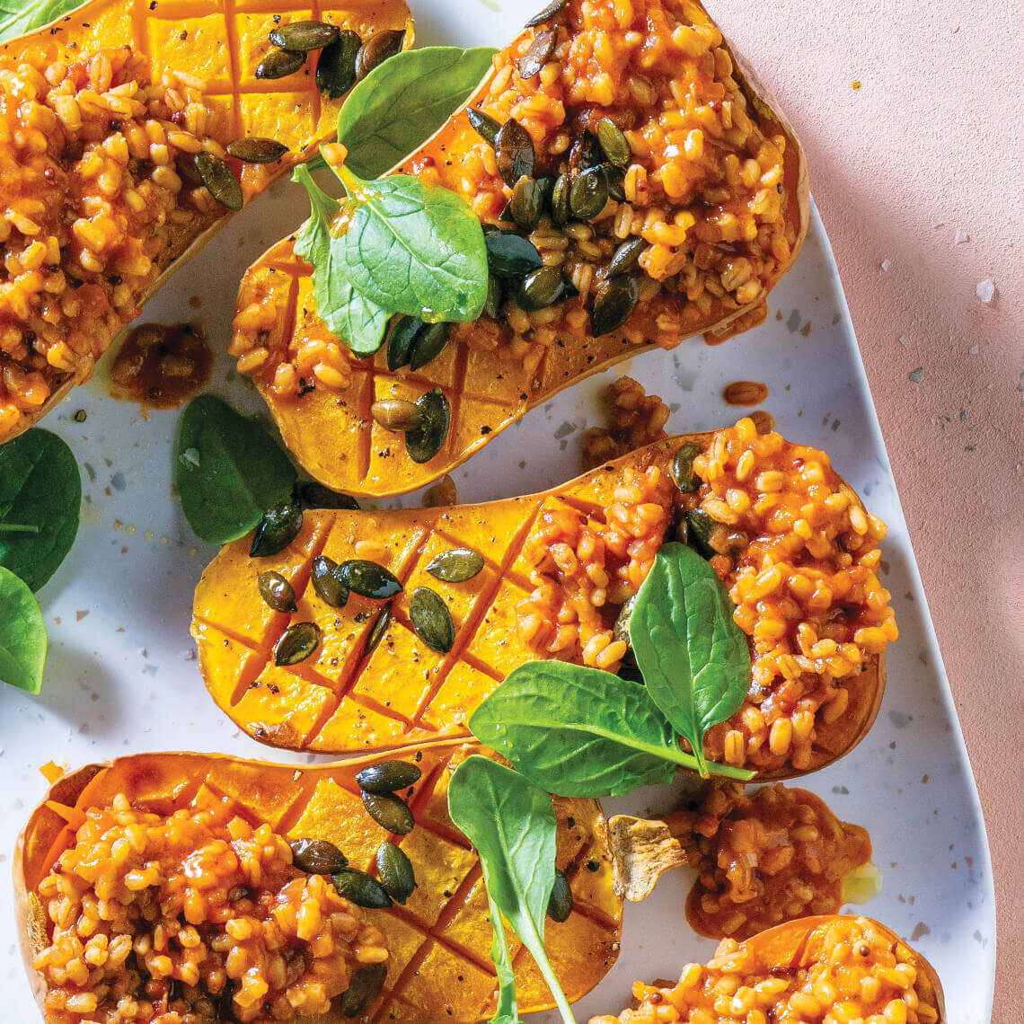 Roasted butternut with tomatoey barley