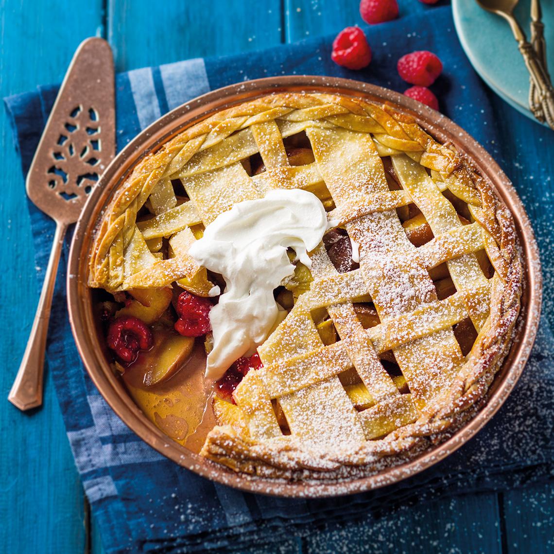 Stone fruit and raspberry pie