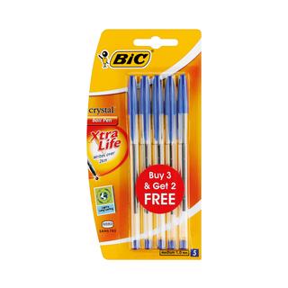 BIC Crystal Medium 3 + 2 Blue Pens
