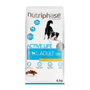 Nutriphase Chicken & Rice Medium Large Adult Dog Food 6kg