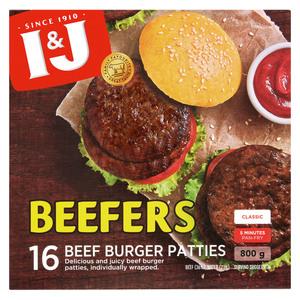 I&J Beefers Beef Patties 800g