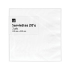 PnP 2ply Serviettes White 20ea