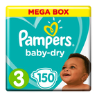 Pampers Baby-Dry, Size 3 Mega Box, 150 Nappies