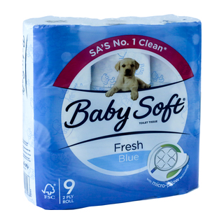 Baby Soft 2 Ply Toilet Paper Printed Blue 9s