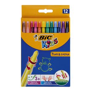 BIC Turn & Colour Wax Crayons 12ea