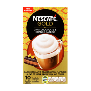 Nescafe Gold Dark Chocolate & Orange Gateau Flavoured Cappuccino Sachets 10s