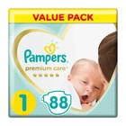 Pampers Premium Care, New Born Size 1 Value Pack, 88 Nappies