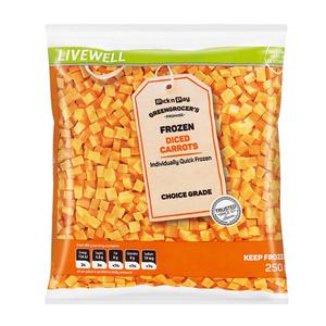 No Name Frozen Diced Carrots 250g