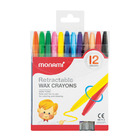 Monami Retractable Wax Crayons 12s
