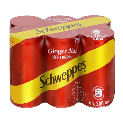 Schweppes Ginger Ale Can 200ml x 6 | Pack | Unit of Measure