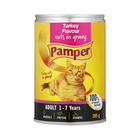 Purina Pamper Turkey in Gravy Tinned Ca t Food 385g