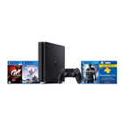 Playstation PS4 500GB Bundle + 3 Games (Grand Turismo Sport, Horizon Zero Dawn, Unchartered 4) + PS4 90 Day Voucher