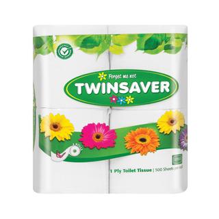 Twinsaver 1 Ply White Toilet Paper 4ea