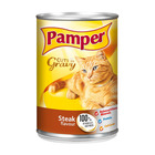 Purina Pamper Steak Cuts in Gravy Tinned Cat Food 385g