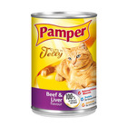 Purina Pamper Beef & Liver in Jelly Tinned Cat Food 385g