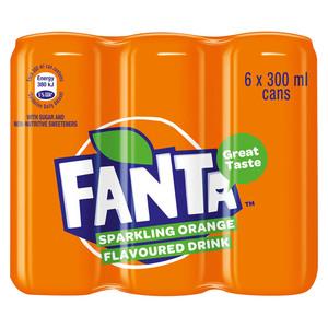 Fanta Orange 300ml Can x 6