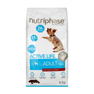 Nutriphase Beef & Rice Small Medium Adult Dog Food 6kg