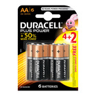 Duracell Alkaline Batteries Plus Power AA 4+2