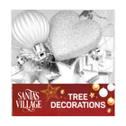 Santa's Village Tree Decoration Silver 18 Piece
