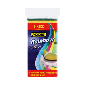 Addis Rainbow Multi Sponge Scourers 5s