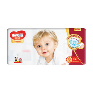 Huggies Gold Unisex Size 3 58s