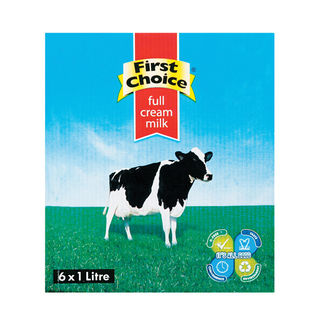 First Choice Long Life Full Cream Milk 1l x 6