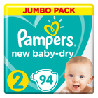 Pampers New Baby-Dry Size 2 Jumbo Pack, 94 Nappies