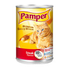 Purina Pamper Steak Saucy Mince Tinned Cat Food 385g