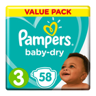 Pampers Baby-Dry Size 3 Value Pack, 58 Nappies
