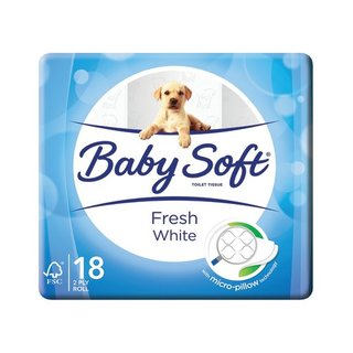 Baby Soft 2 Ply Toilet Paper White 18s x 4