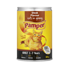 Purina Pamper Steak Cuts in Gravy Tinned Cat Food 385g