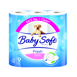 Baby Soft Pink Toilet Paper 2 Ply 9s