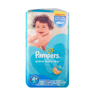 Pampers Active Baby Nappies Size 4 Maxi Plus 16kg+ Jumbo 62s