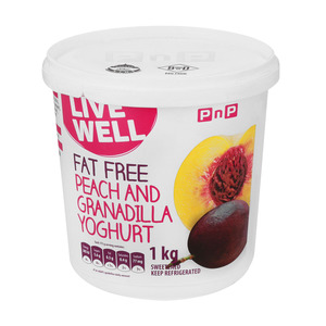 PnP Live Well Fat Free Peach & Granadilla Yoghurt 1kg