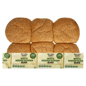 PnP White Seeded Burger Buns 6s