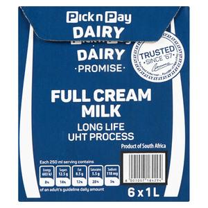 PnP UHT Full Cream Milk 1l x 6
