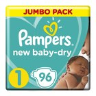 Pampers New Baby-Dry Size 1 Jumbo Pack, 96 Nappies