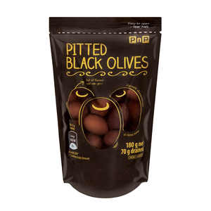 PnP Black Pitted Olives 180g