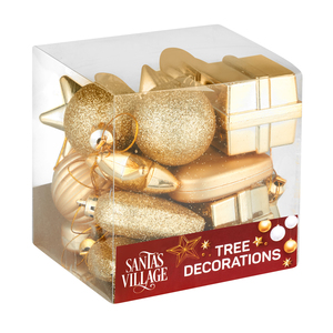 Santa's Village Tree Decoration Gold 18 Piece