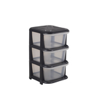Big Jim 3 Drawer Tower Black & Clear