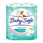 Baby Soft 2 Ply Toilet Paper Mini White 9