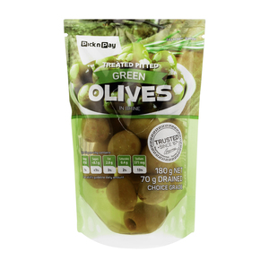 PnP Green Pitted Olives 180g