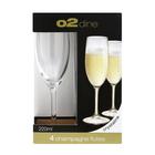 O2 Dine Flute Glass 220ml 4 Pack
