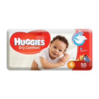 Huggies Dry Comfort Nappies Size 4 From 8-14kg 50s