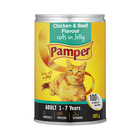 Purina Pamper Chicken & Beef in Jelly Tinned Cat Food 385g